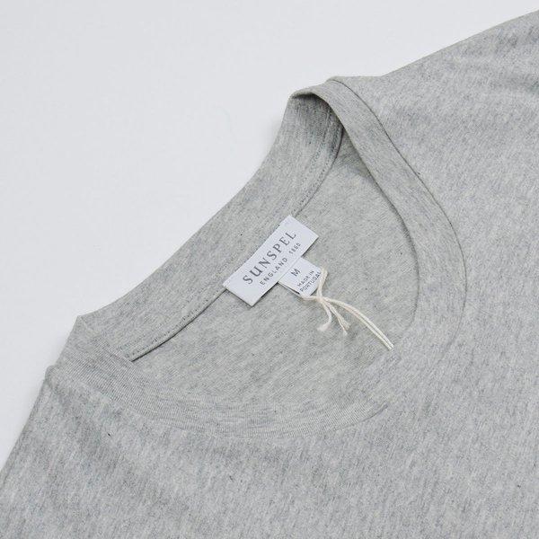 Sunspel Short Sleeve Riviera Crew Neck T-shirt - grey melange
