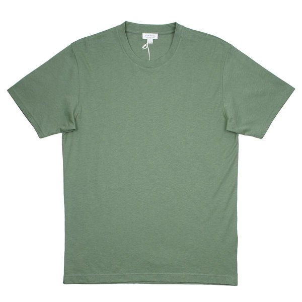 Sunspel Short Sleeve Riviera Crew Neck T-shirt - Light Khaki