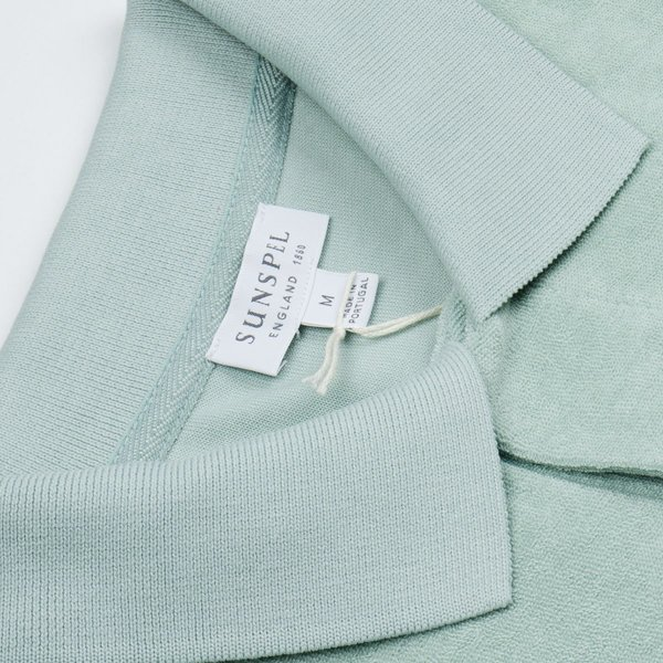 Sunspel Short Sleeve Terry Polo - Dusky Green