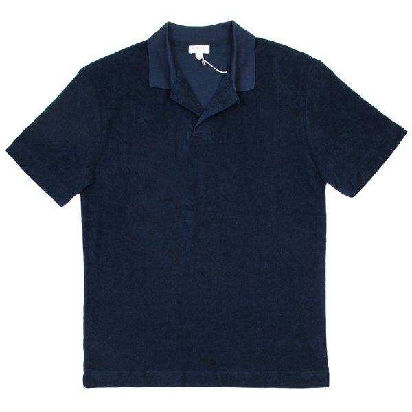 Sunspel Short Sleeve Terry Polo - Navy
