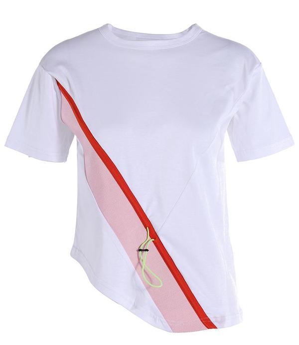 I Am Chen Asymmetric Drawstring Shirt - White