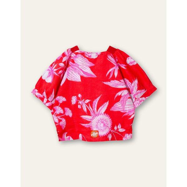 Kids Oilily Besty Linen Blouse - Orange Flower