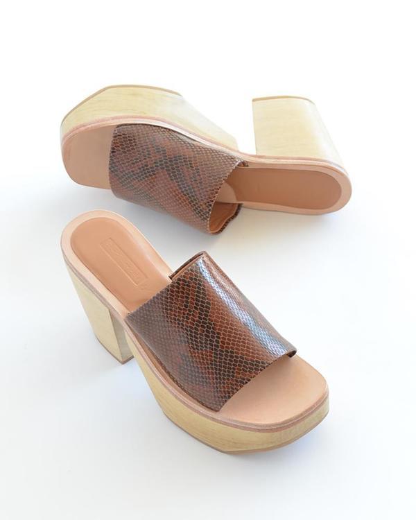 Rachel Comey Jibe Clog - brown snake print leather