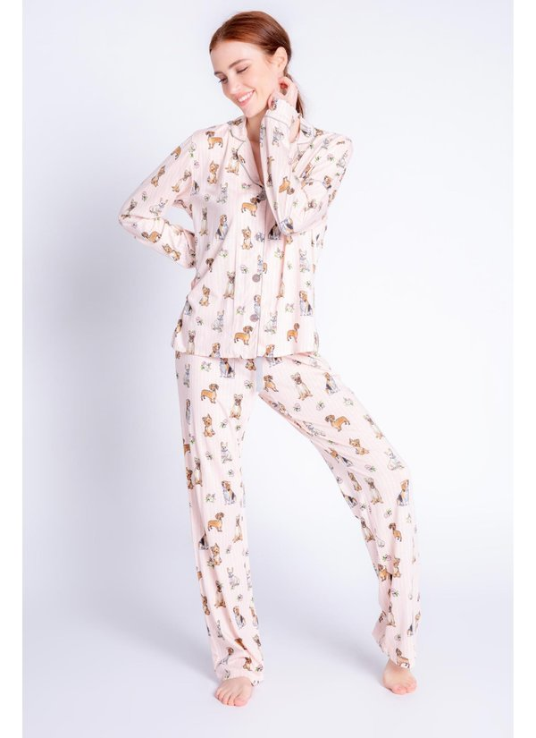 PJ Salvage Playful Prints Love Dogs PJ Set - Blush