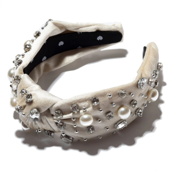 LeLe Sadoughi Pearl And Crystal Knotted Headband - ivory