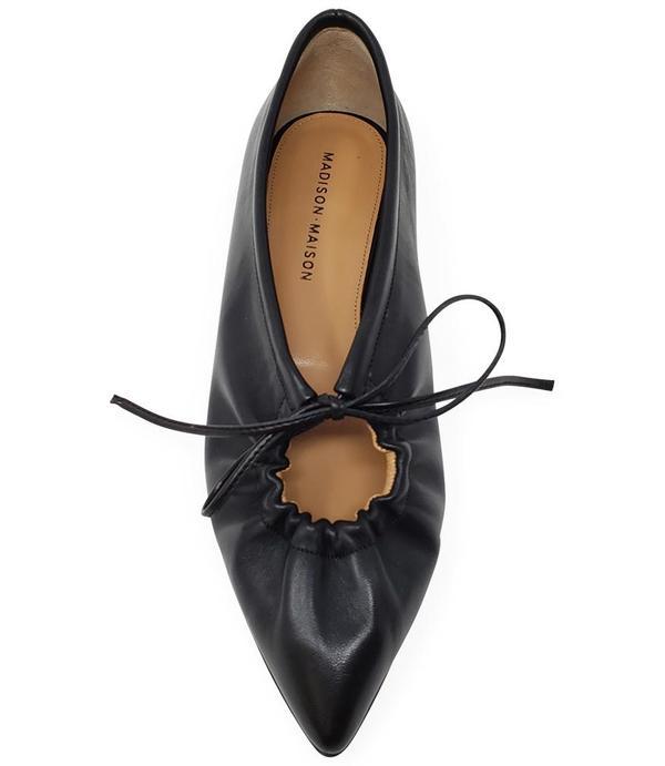 Madison Maison by Sergio Amaranti Leather Pointy Lace up Ballerina shoes - Black