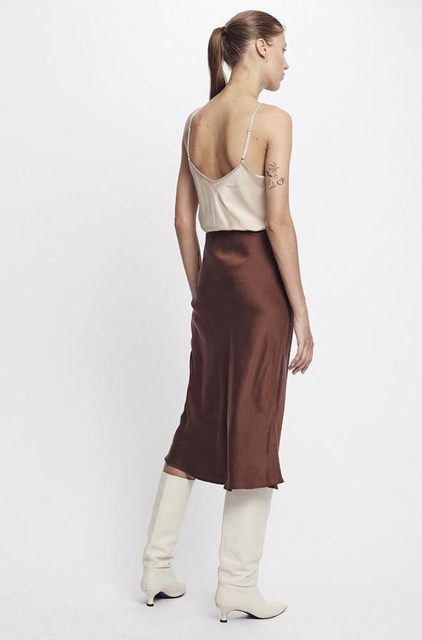 Silk Laundry BIAS CUT SKIRT - CHOCOLATE