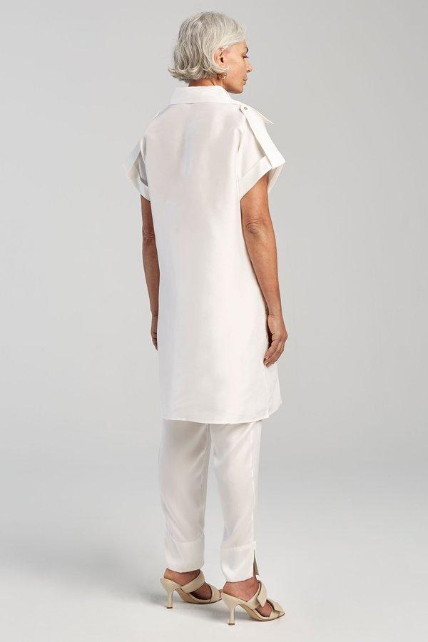 Silk Laundry DROP SHOULDER 60S DRESS - WHITE