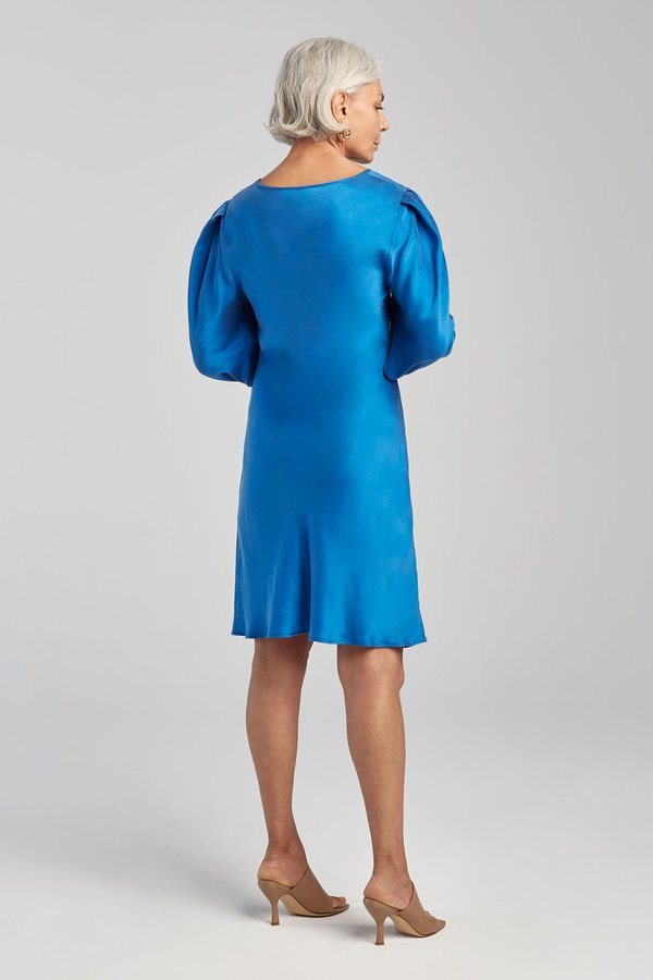 Silk Laundry ORIGAMI SLEEVE DRESS - COBALT BLUE