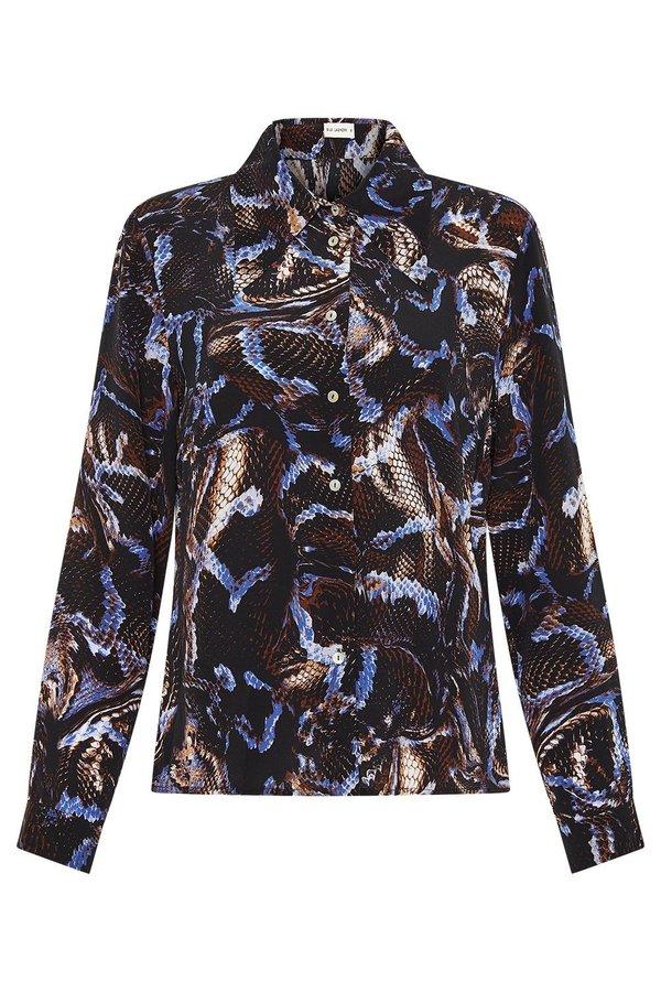 Silk Laundry SHARP COLLAR SHIRT - SNAKE