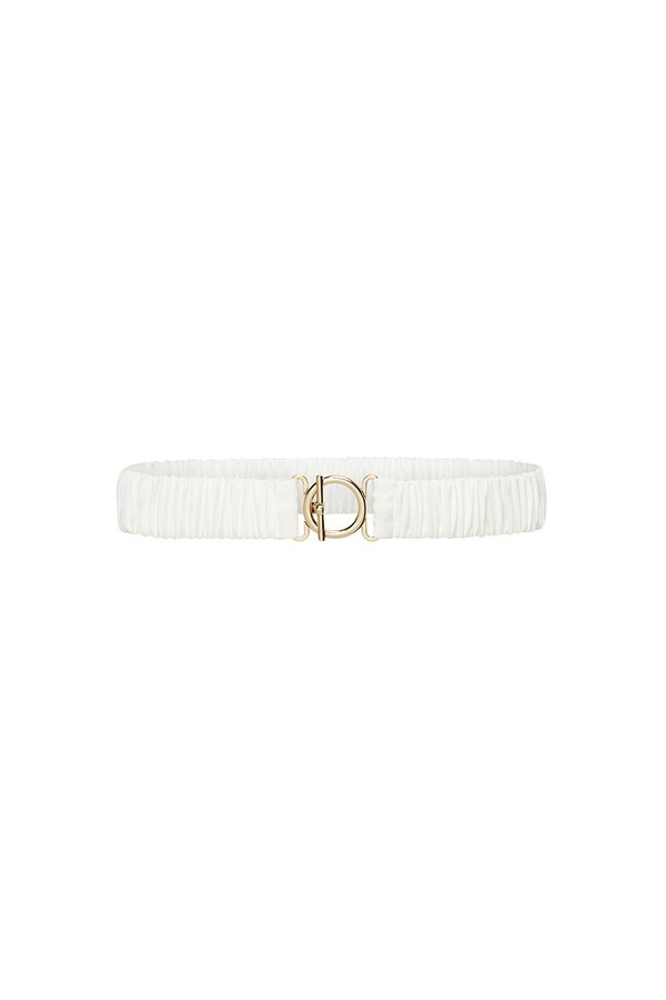 Silk Laundry T BAR CLASP SILK BELT - WHITE