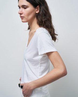 Nili Lotan Carol V-Neck Tee Shirt - White