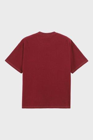 PHIPPS Garment Dye Organic Cotton Jersey Pocket Tee - Crimson