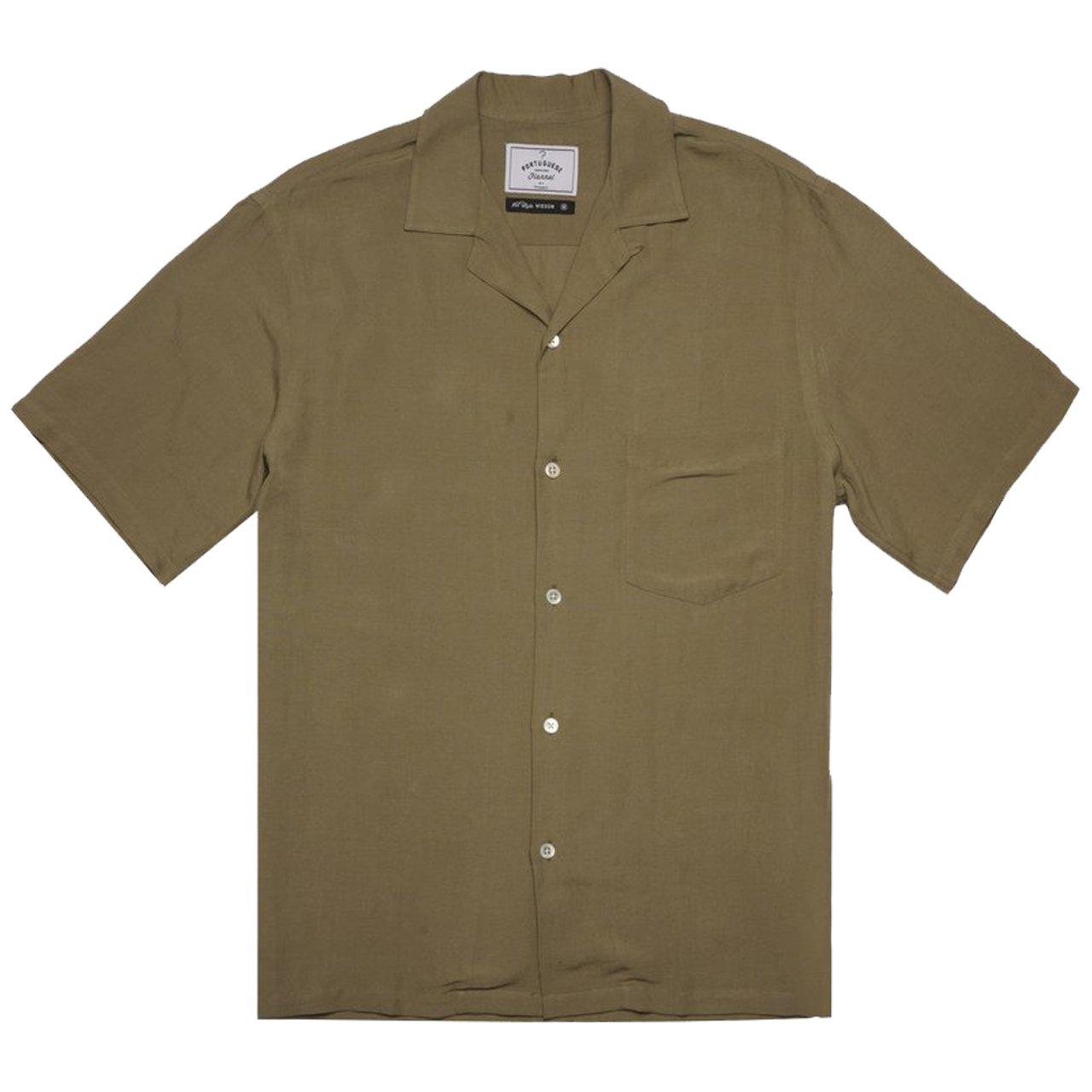 1940s Men's Shirts, Sweaters, Vests Portuguese Flannel Dogtown Shirt - Olive Green $116.00 AT vintagedancer.com