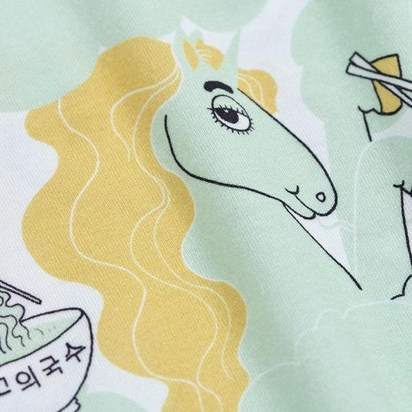 kids Mini Rodini Baby And Child All Over Unicorn Noodles Print T-shirt - Green