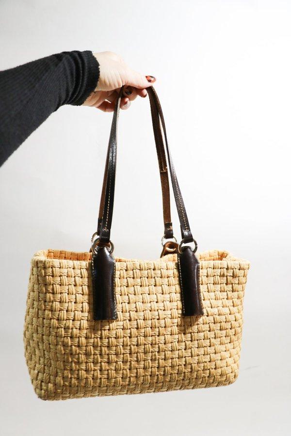 [Pre-loved] Mazzini Woven Raffia Handbag - Beige