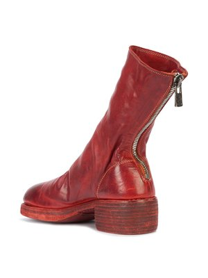 Guidi 788Z Horse/Cow Back Zip Mid Boot - red
