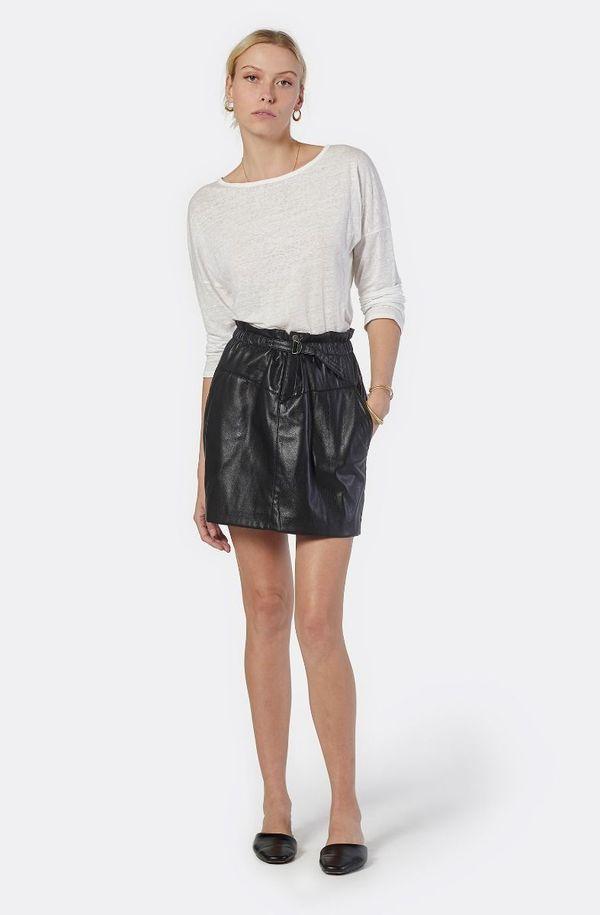Joie Winona Vegan Leather Mini Skirt - Caviar
