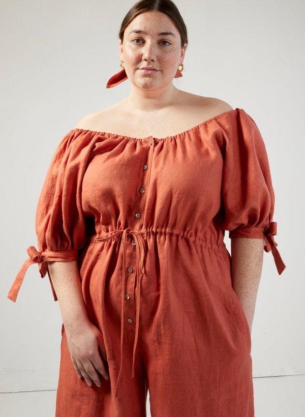 Eliza Faulkner Linen Jumpsuit - Terracotta