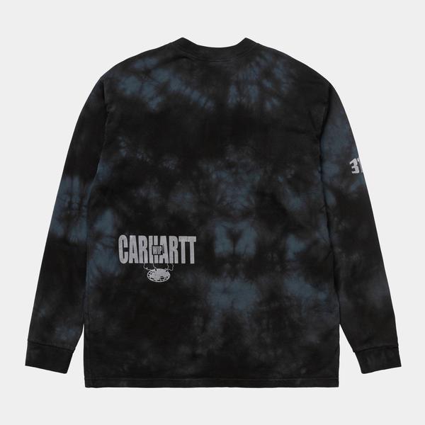 CARHARTT WIP Long Sleeve Tab T-Shirt - Tie Dye Black