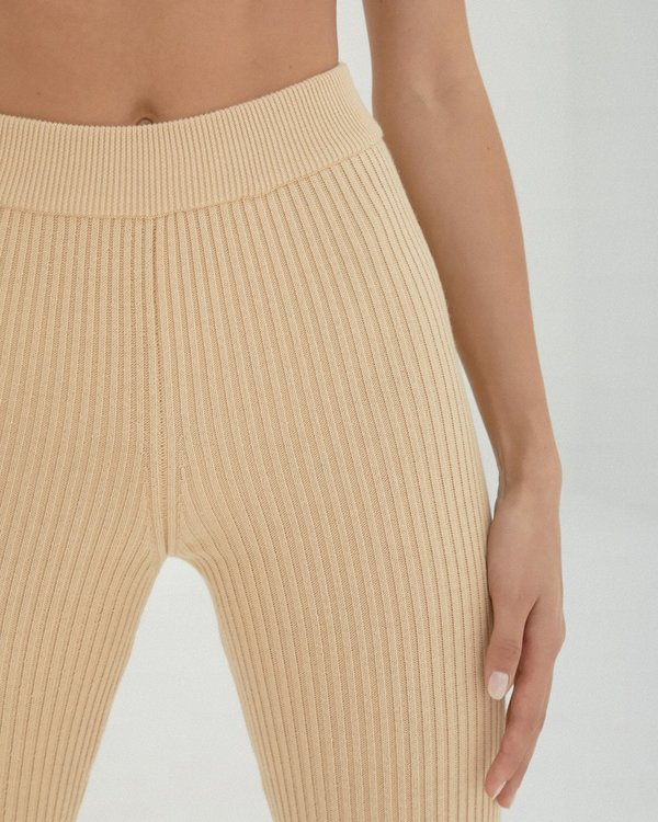 Mónica Cordera Ribbed Leggings - Wheat