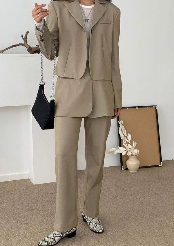 Skirt Overlay Suit Pants in Beige