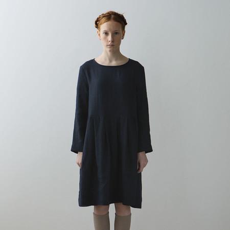 Kids Muku Pleated Dress with Button Closure - Dark Blue
