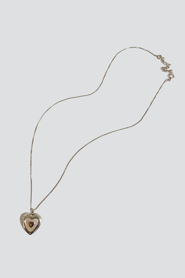 Vintage Mother of Pearl Inlay Heart Locket Necklace - Sterling Silver