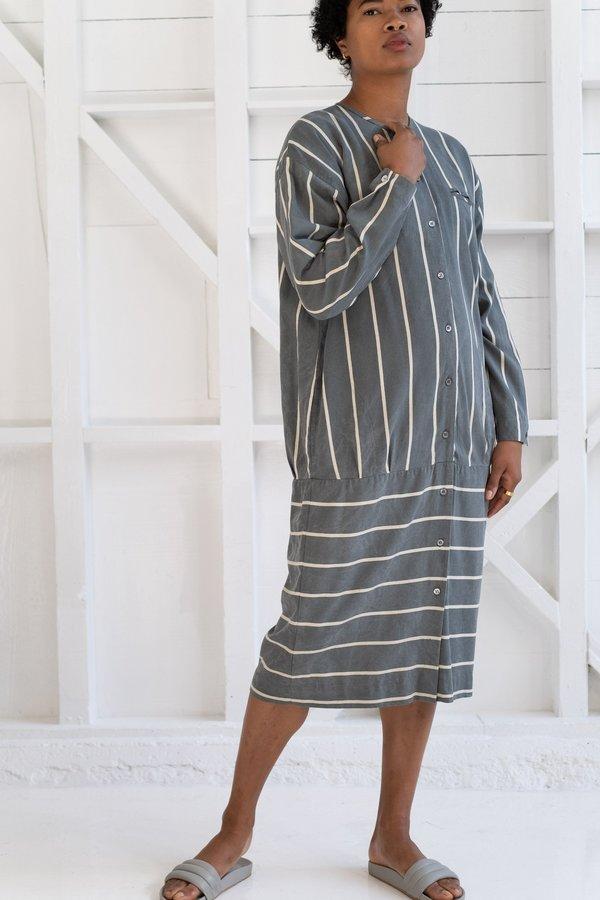 Vintage RAW SILK STRIPED DRESS - grey/cream