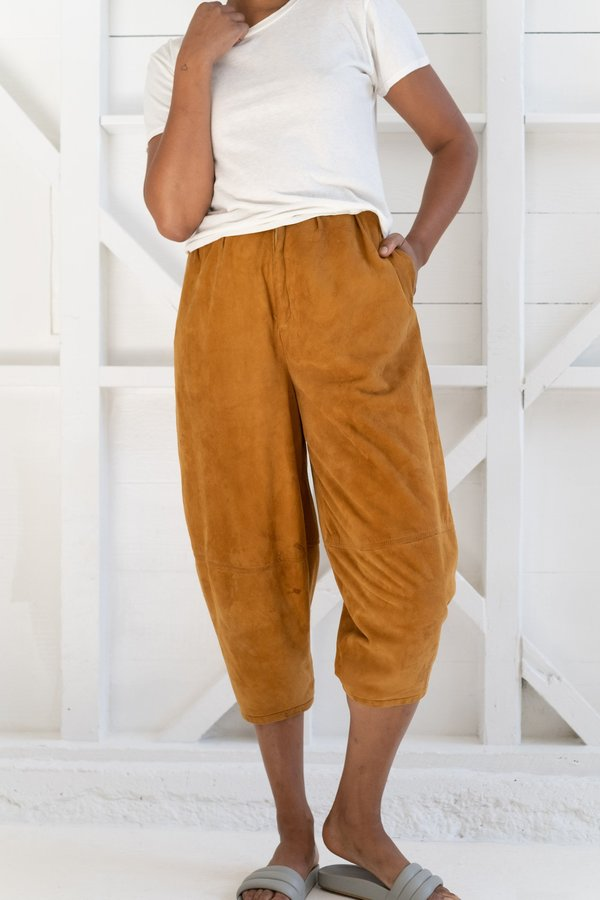 Vintage Suede Balloon Pants - Rusty Orange