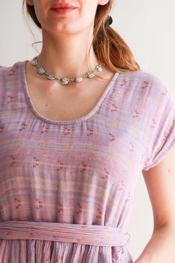 Vintage Danecraft Leaf Chainlink Necklace - Silver