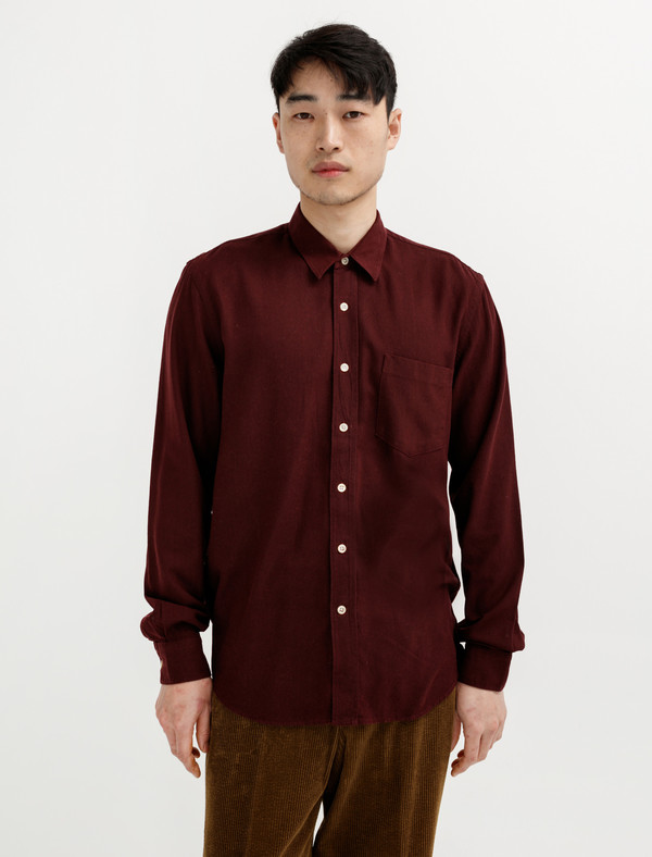 58edce282a7c65 Our Legacy Classic Shirt Burgundy Silk