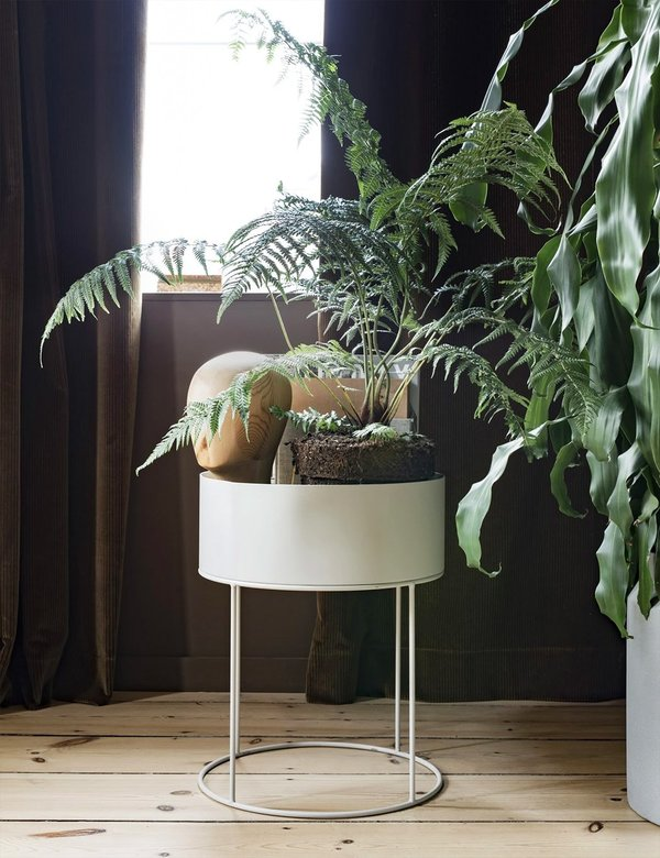 Ferm Living Round Plant Box - Light Grey