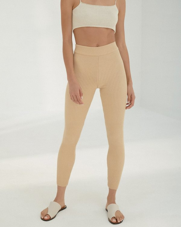 Mónica Cordera Ribbed Legging - Wheat