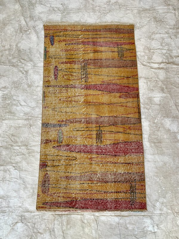 Vintage Gold Abstract Distressed Wool Rug