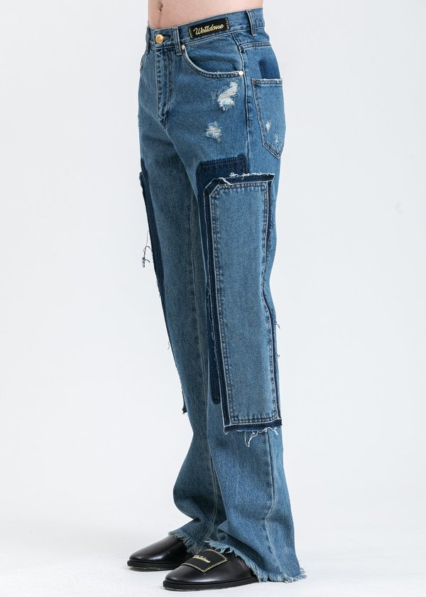 we11done Patch Work Jeans - Washed Blue