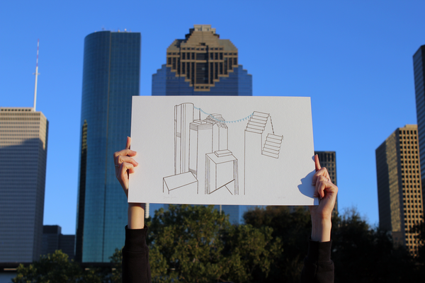 Kaylan Smith Illustration Houston Downtown Letterpress Print