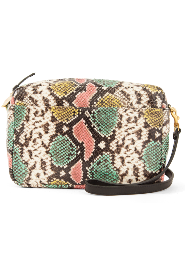 Clare V. Marisol with Front Pocket - Pastel Painted Snake