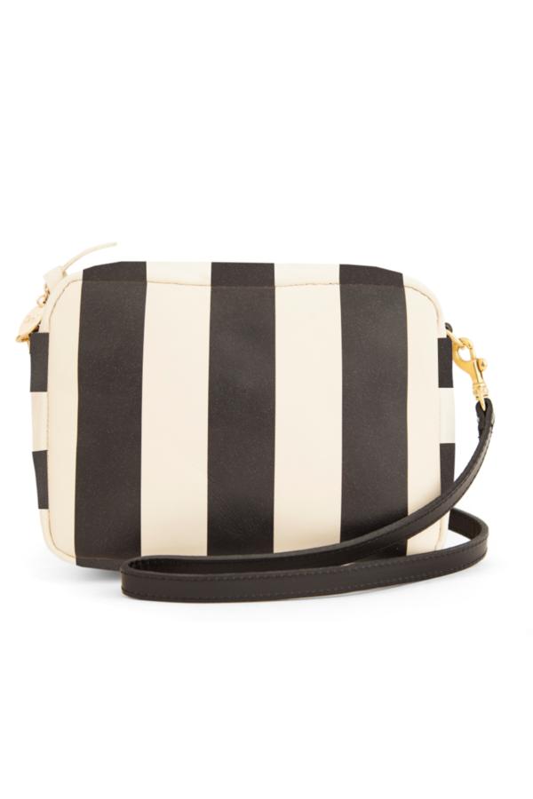 Clare V. Midi Sac - Black/Cream Striped