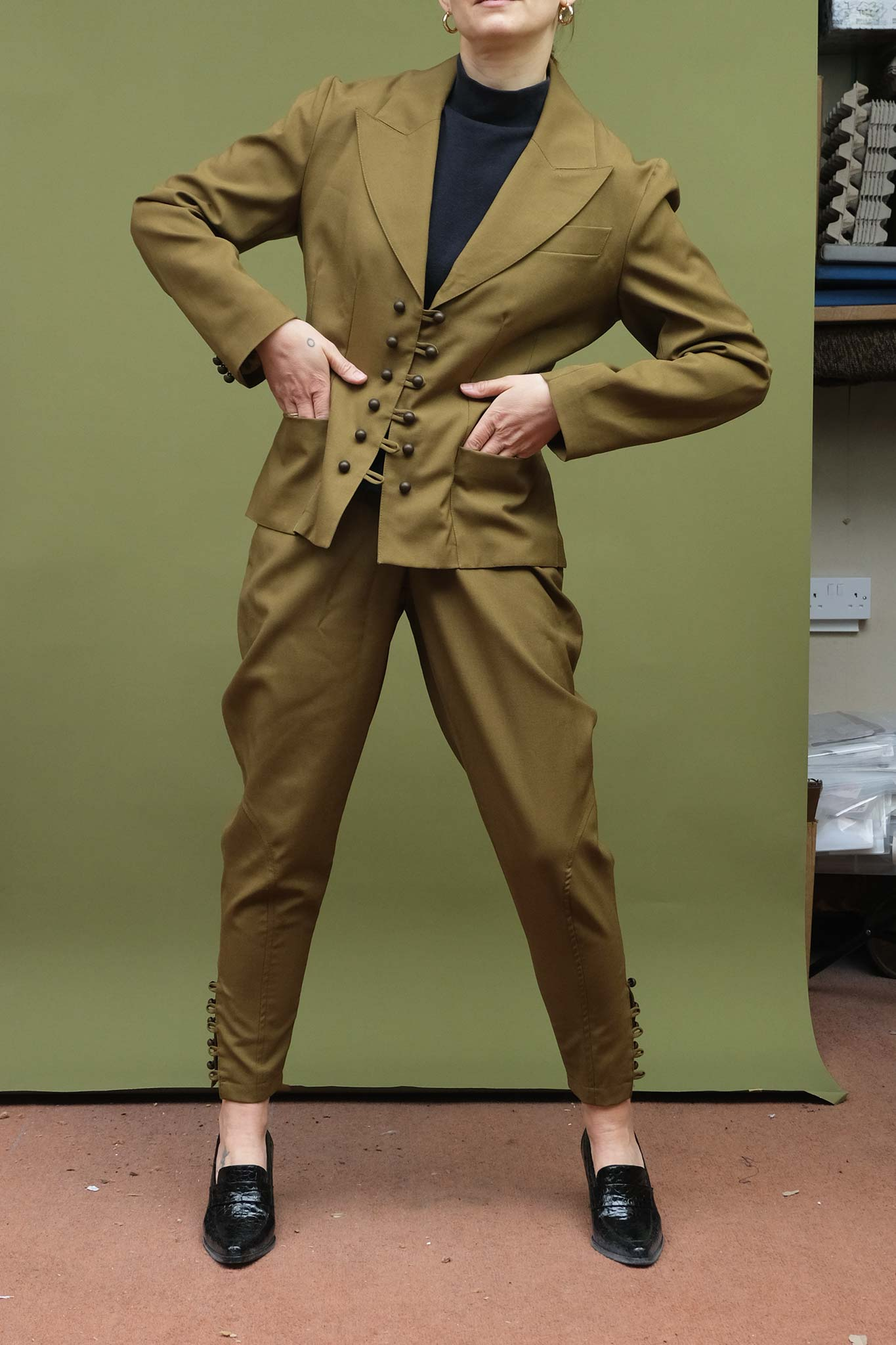 80s Outfit Inspiration, Party Ideas Vintage WOLF  GYPSY VINTAGE 1980s Suit - olive green $55.00 AT vintagedancer.com