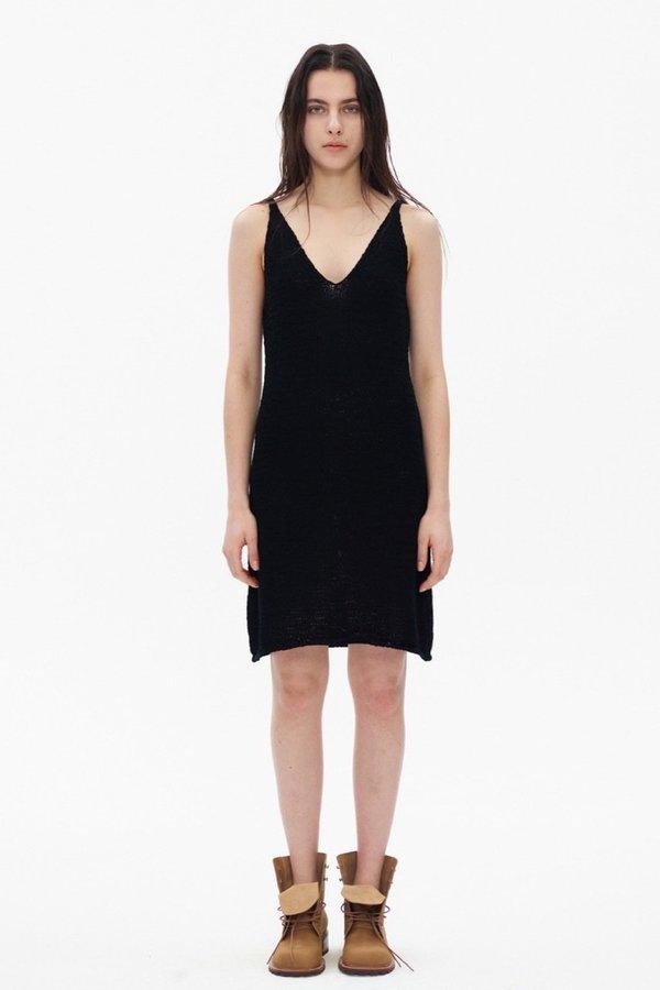Theopen Product COTTON KNIT SLEEVELESS DRESS - black