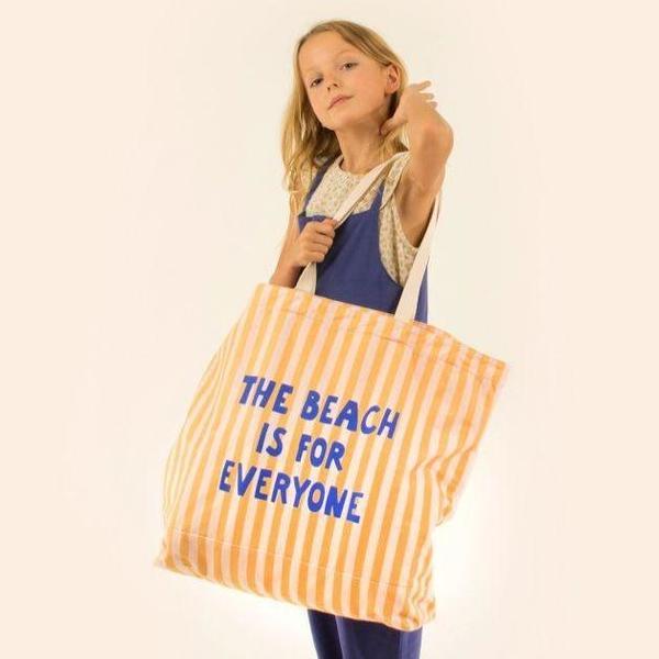kids Manifesto Oversized Tote Bag - yellow/cream stripes