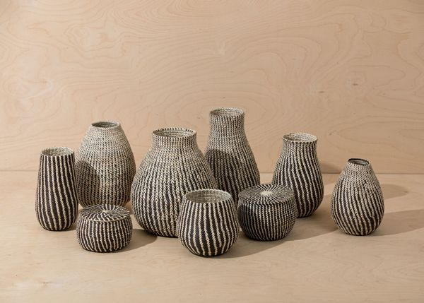 Territory Millet Lidded Basket - Black/White