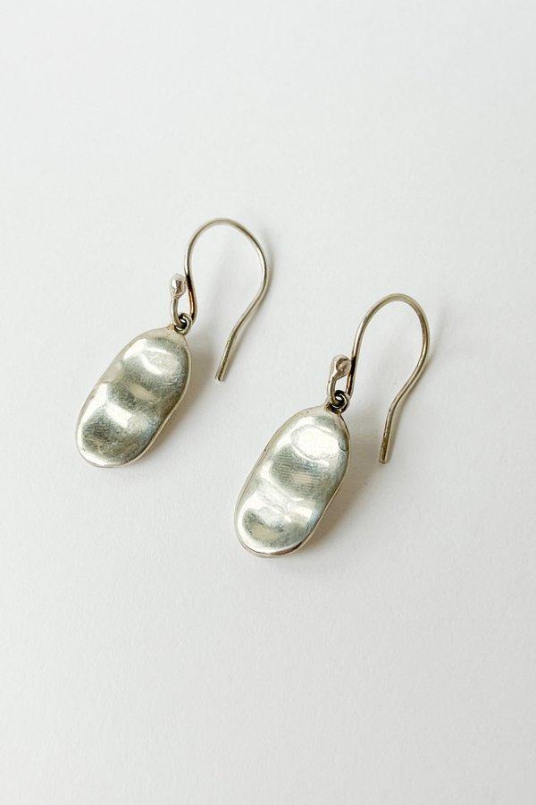 Vintage Oval Fish Hook Earrings - silver