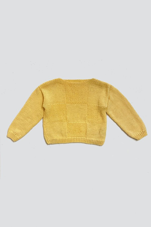 Cotton Butter Squares Crop Knit Pullover