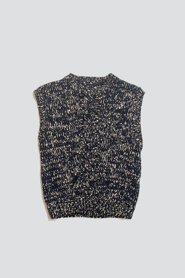 Vintage Cotton Knit Vest - Navy Melange
