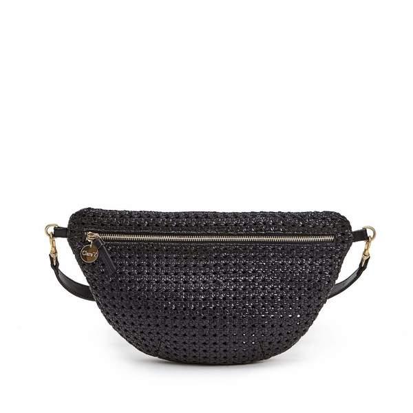 Clare V. Grande Fanny Rattan bag - black