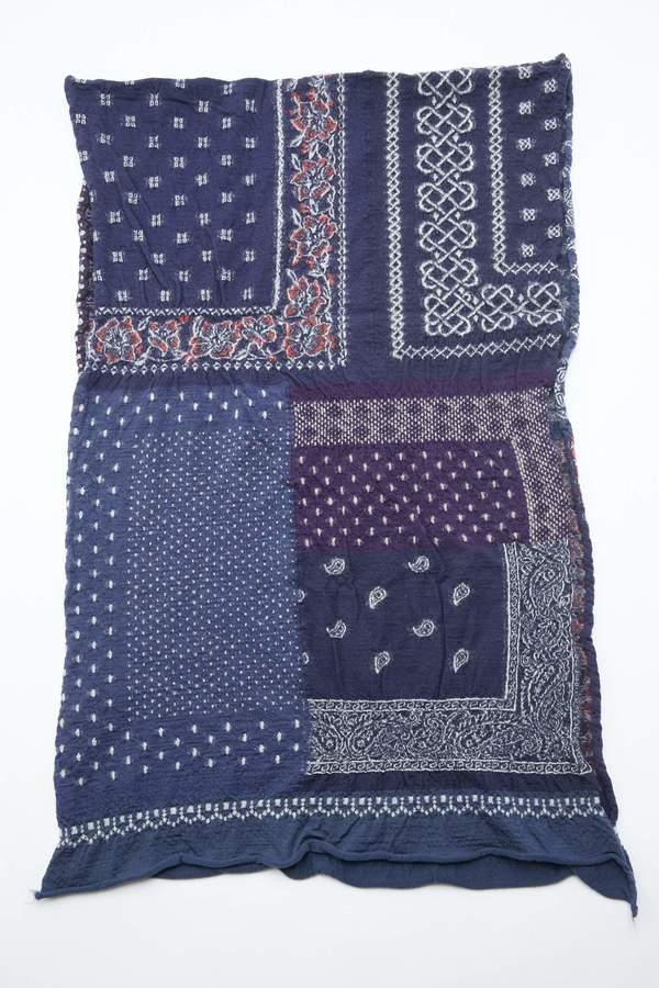Kapital Compressed Wool Bandana Patchwork Scarf - Navy