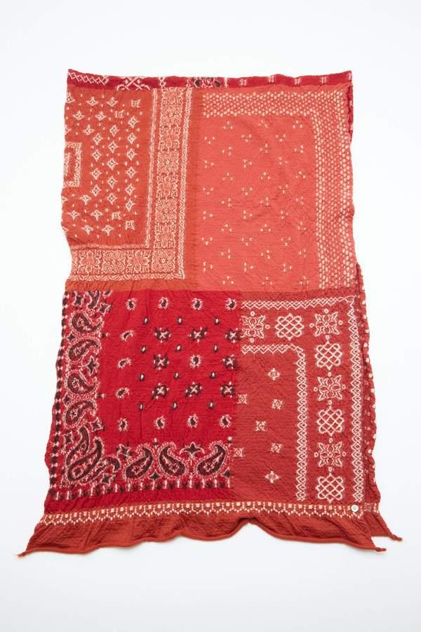Kapital Compressed Wool Bandana Patchwork Scarf - Red