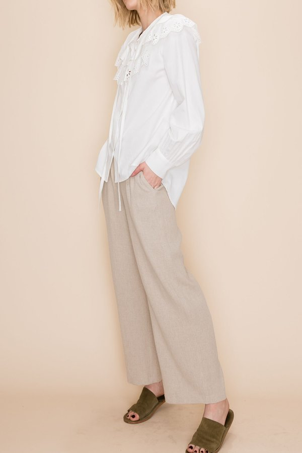 Prairie cotton lace collared shirt